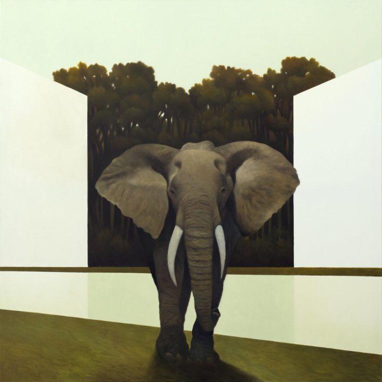 La foresta rilevata Olio su tela 100x100 cm 2019