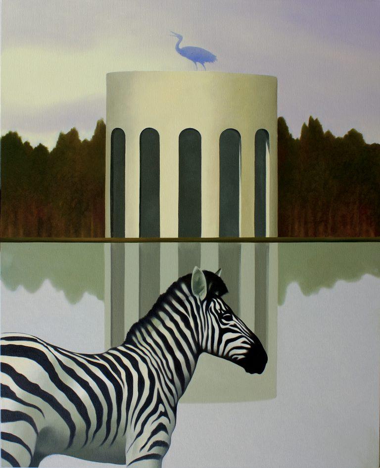 Il tempietto delle zebre olio su tela 100x80 2008