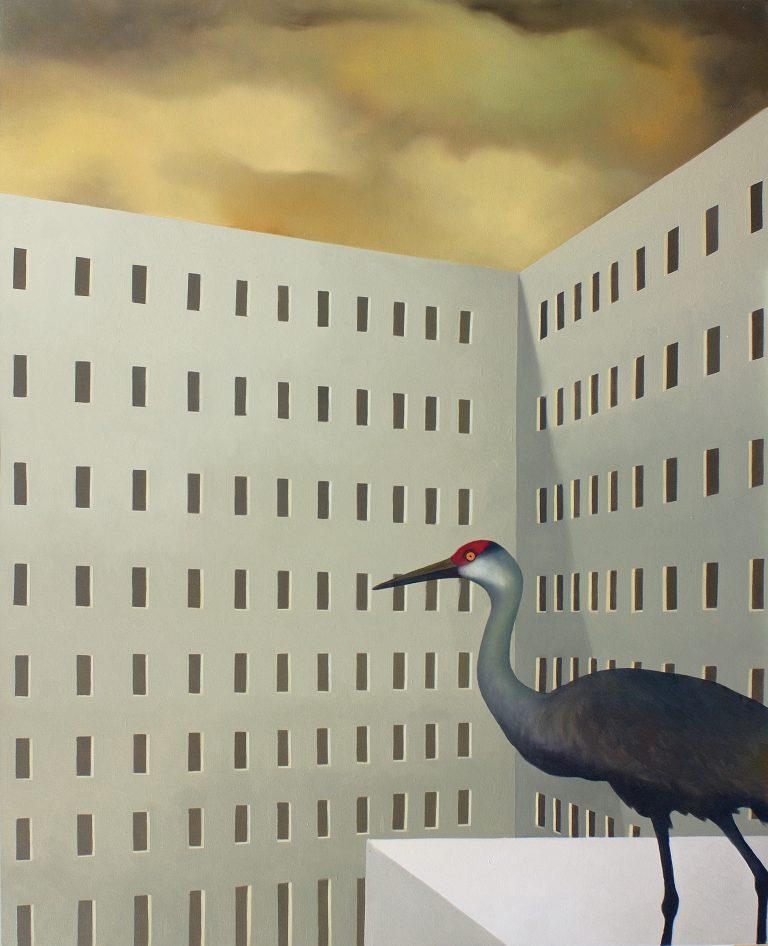 La gru del quartiere olio su tela 100x80 2008