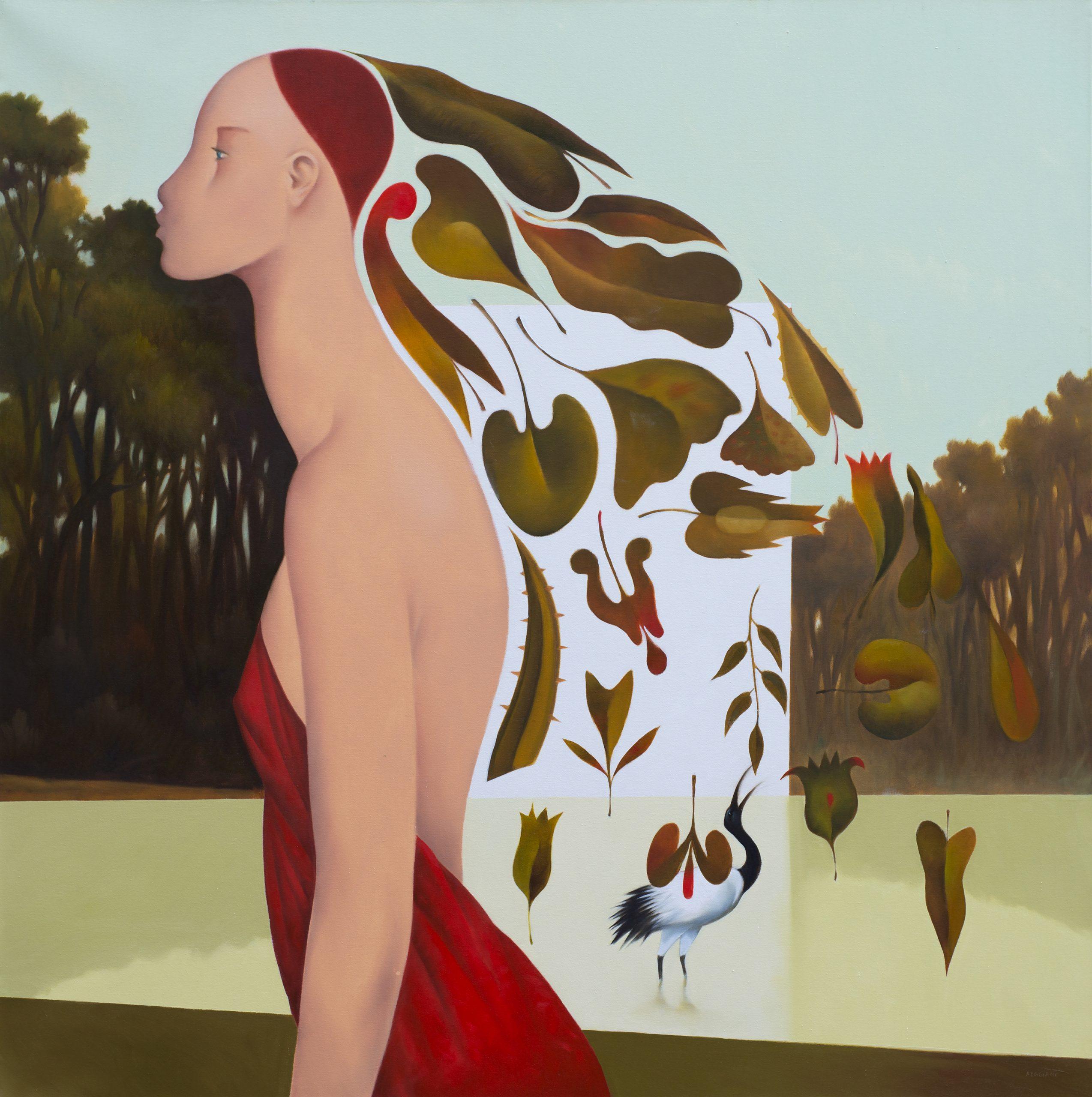Profilo del canto, olio su tela, 80x80, 2018
