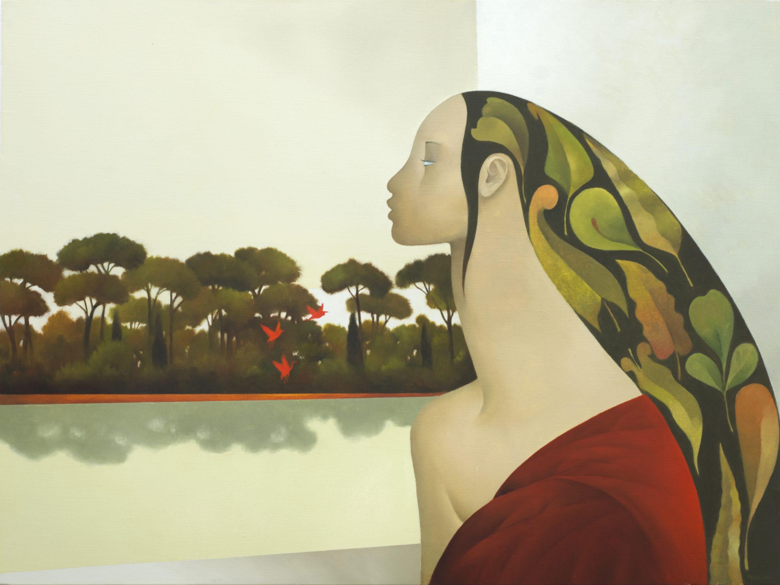 profilo degli aironi, olio su tela, 60x80, 2019