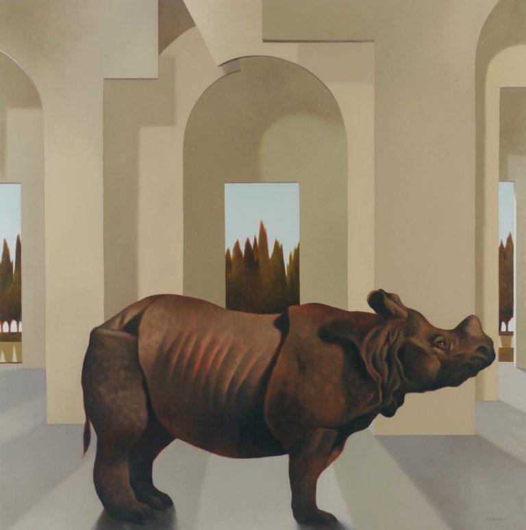 rinoceronte del labirinto olio su tela 100x100 2006