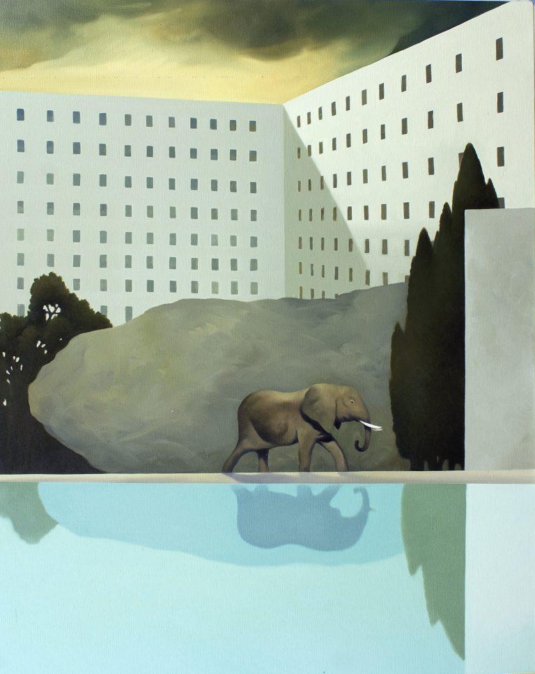 Quartiere rupestre olio su tela 100x80 2008